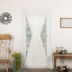 VHC Tobacco Cloth Antique White Country Farmhouse Window Door Panel Curtain