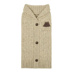 HARRY BARKER DOG/PET CABLE KNIT TAN CARDIGAN SWEATER- HANKIE & LEATHER BUTTONS-M
