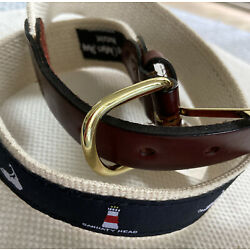 Nobby Clothes Shop Nantucket kids Sankaty Head fabric and leather Kids belt NWT