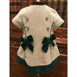 Dolce Petit Spanish Grey & Green Winter Baby Dress - Age 3 Months - New