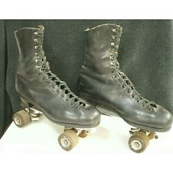Vtg RIEDELL Red Wing Boots ROLLER SKATES Sure-Grip Olympian Size 8 Plates FO-MAC