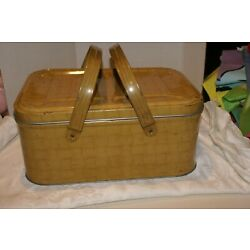 Vintage Metal/Tin Wicker-Look Picnic Basket 2 HANDLES 14'' X 10'' X 6''H SMALL DING