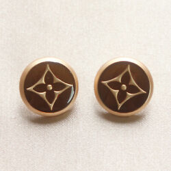 Set of 2 Louis Vuitton LV Logo Buttons 17mm, Brown, Gold, Round, Stamped