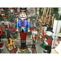 LIFE SIZE * NUTCRACKER * 5 FOOT 9'' COLOR CHANGING LIGHTS MUSICAL CHRISTMAS RARE