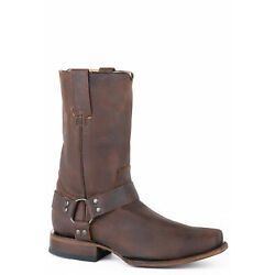 Roper Mens Brown Leather Biker 10In Harness Cowboy Boots