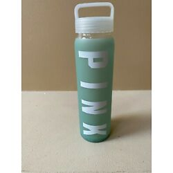 VICTORIA'S SECRET PINK GREEN SILICONE GLASS WATER BOTTLE WITH WHITE PINK LOGO