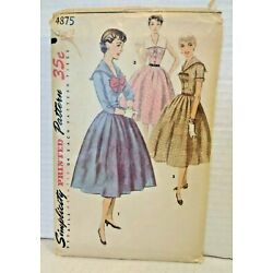 Vtg 1950s Simplicity Printed Sewing Pattern No. 4875 Fit & Flare Dress Size 12