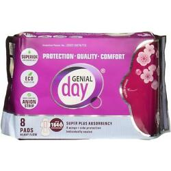 Super Absorbent Heavy Flow Pads by Genial Day, 8 count