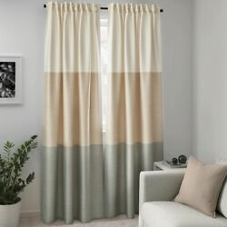 Ikea BINDVIDE Curtains 1 pair gray white beige 57x98'' 904.502.63 New
