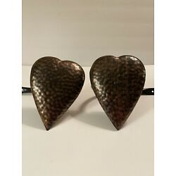 METAL HAMMERED COPPER LOOK HEART COUNTRY PRIMITIVE CURTAIN HOLD BACKS SET OF 2