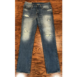 Abercrombie & Fitch Men s Jeans Sz 32x32 Button Fly Slim Straight Distressed