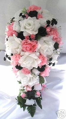 bouquet of flowers for weddings 21pc bridal bouquet wedding flowers pink black white ebay 2031