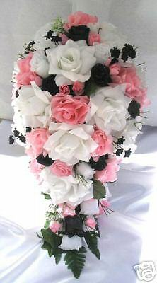 flower bouquets for weddings 21pc bridal bouquet wedding flowers pink black white ebay 4143