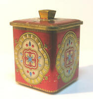 VINTAGE ENGLAND ART DESIGN TEA TIN BOX CONTAINER