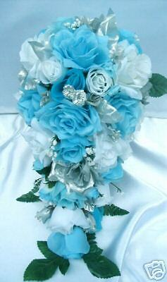21pc bridal bouquet wedding flower turquoise silver ebay. Black Bedroom Furniture Sets. Home Design Ideas