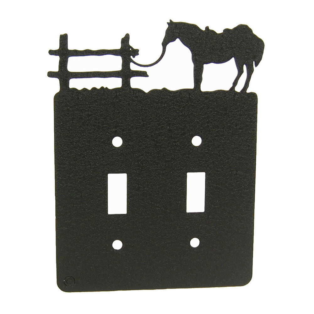 Light Switch Plate Cover: Tethered Horse Black Double Light Switch Plate Cover