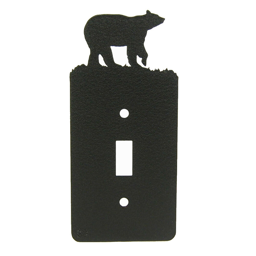 Light Switch Plate Cover: Bear Black Metal Single Light Switch Plate Cover