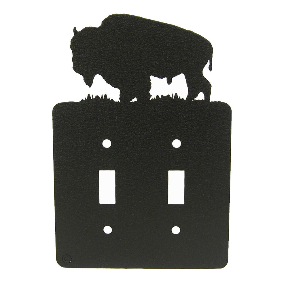 Buffalo Bison Black Metal Double Light Switch Plate