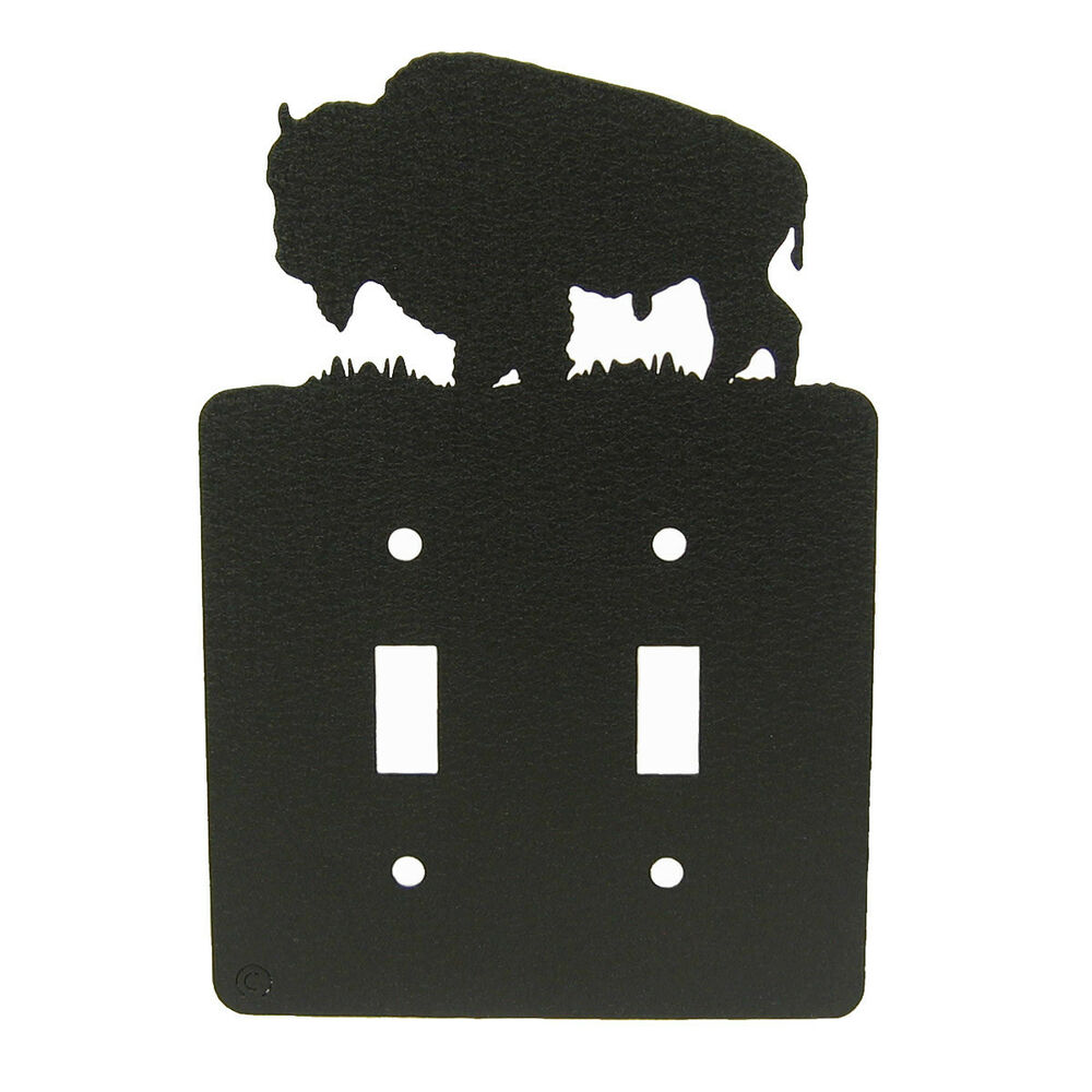 Light Switch Plate Cover: Buffalo / Bison Black Metal Double Light Switch Plate