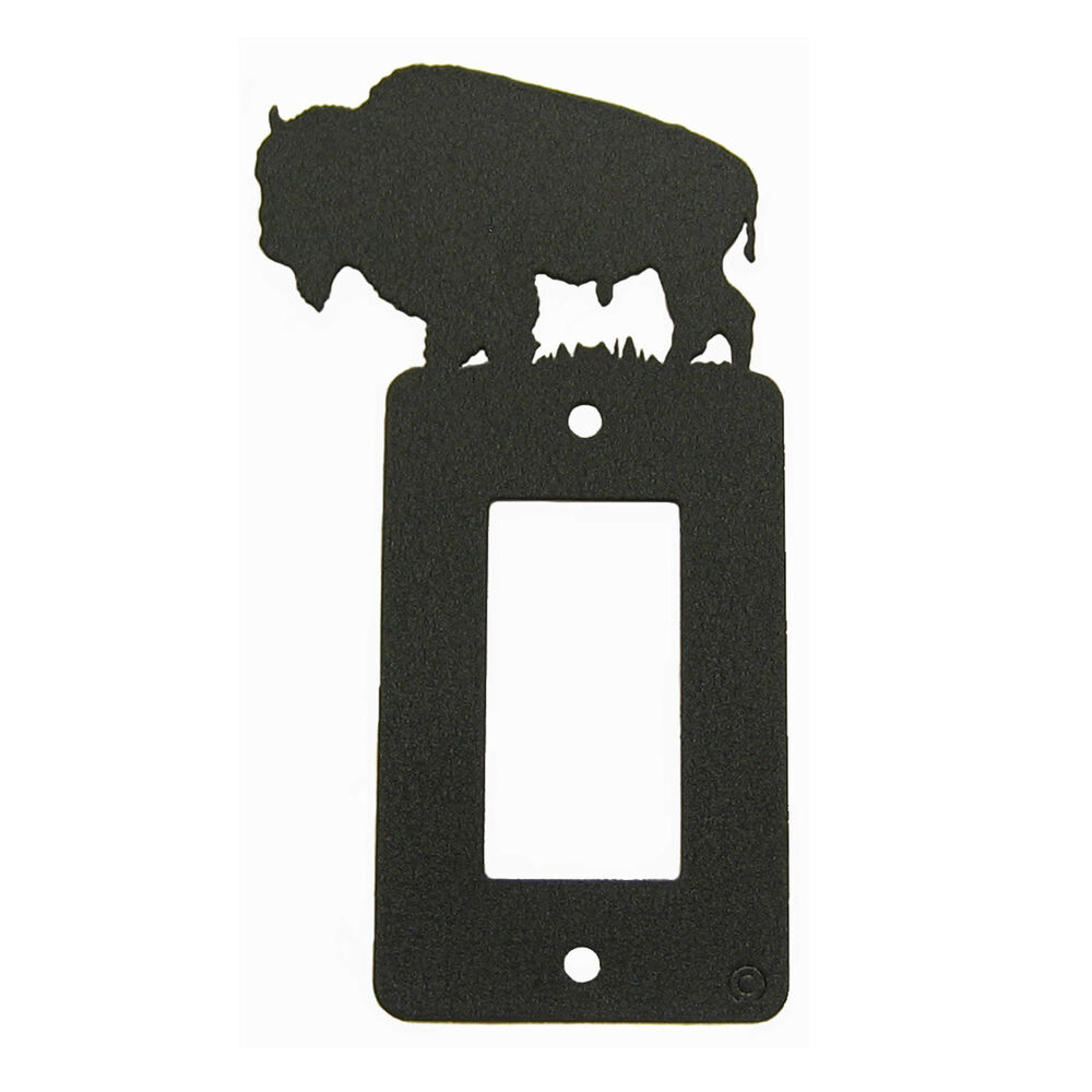 Light Switch Plate Cover: Buffalo / Bison Black Metal Rocker Light Switch Plate
