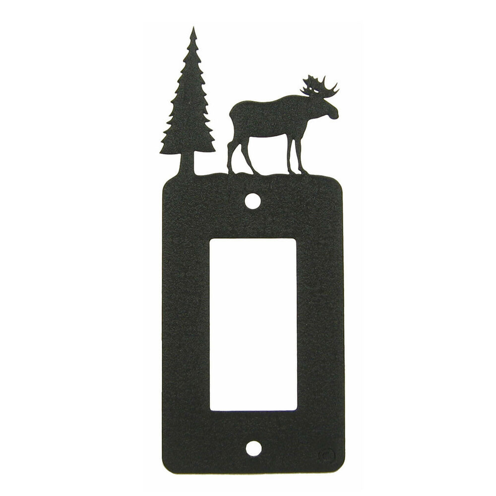 Light Switch Plate Cover: Moose Black Metal Rocker Light Switch Plate Cover