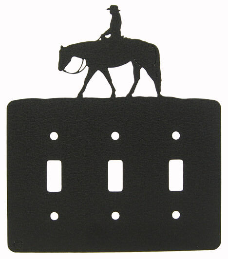 Western Pleasure Black Triple Light Switch Plate Cover