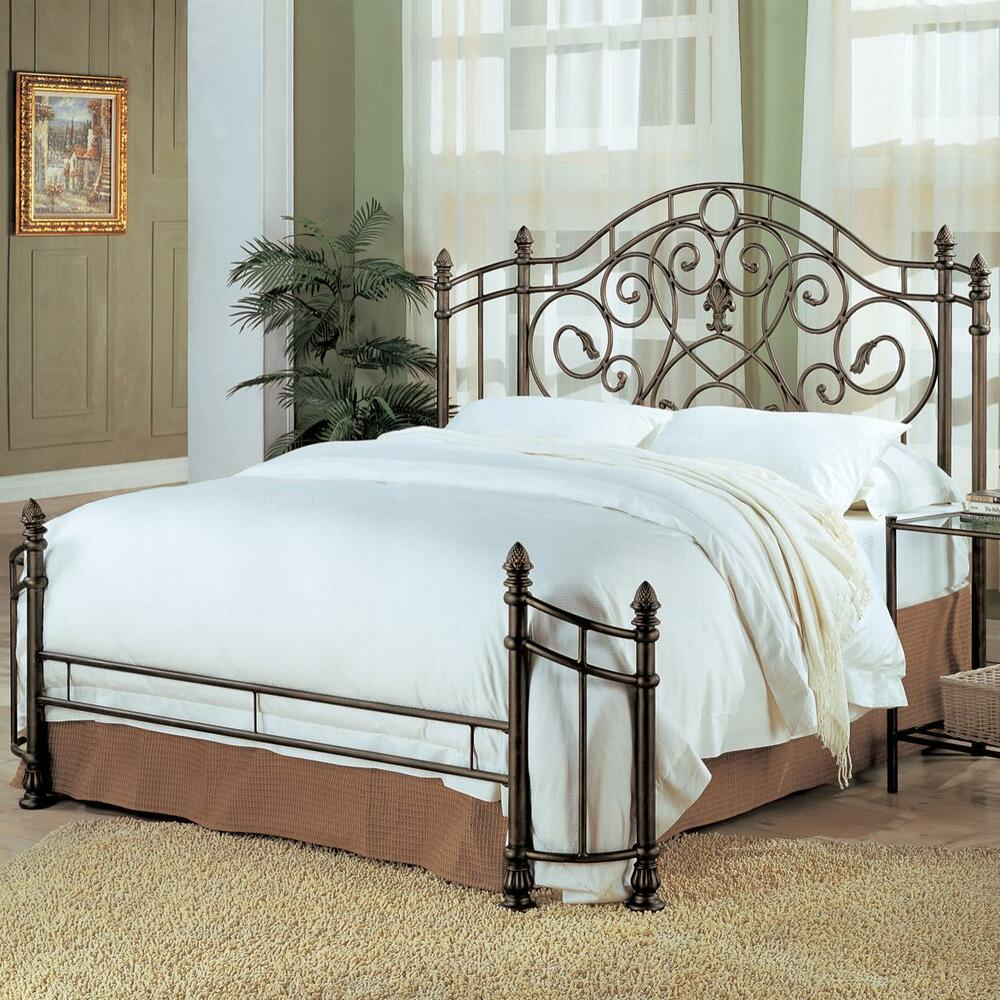 Awesome antique green queen iron bed bedroom furniture ebay for Wrought iron bedroom furniture