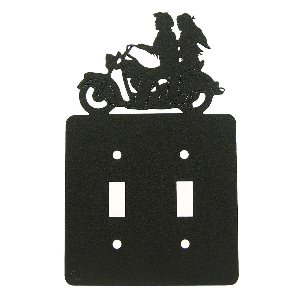 Motorcycle Black Metal Double Light Switch Plate Cover Ebay