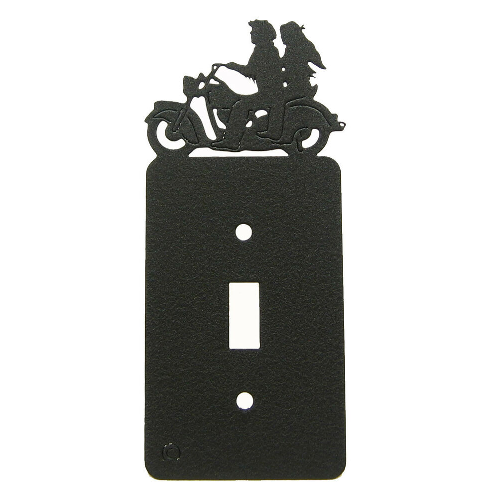 Light Switch Plate Cover: Motorcycle Couple Black Single Light Switch Plate Cover