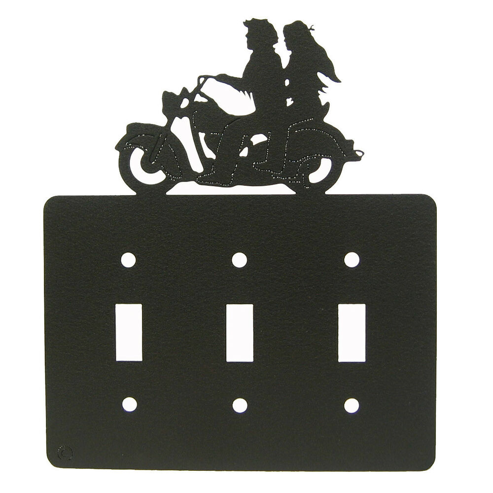 Light Switch Plate Cover: Motorcycle Couple Black Triple Light Switch Plate Cover