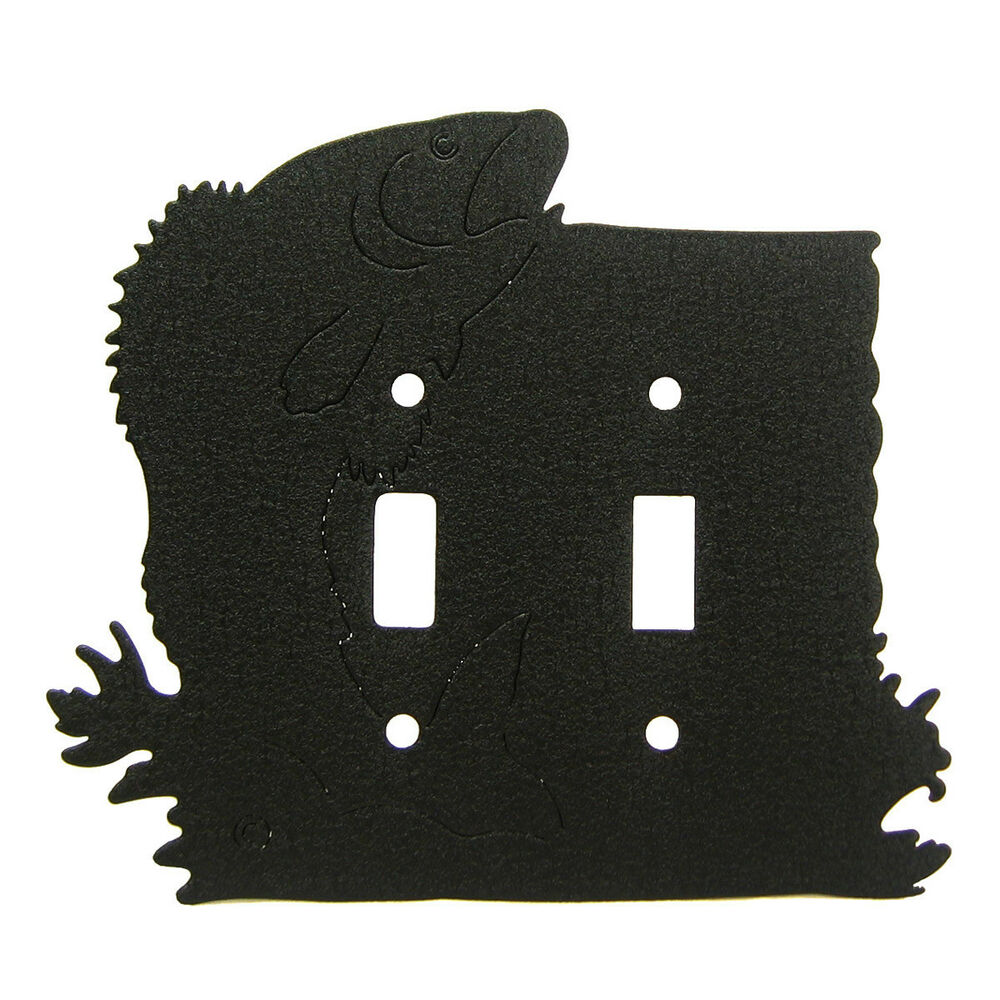 Fish Black Metal Double Light Switch Plate Cover Ebay
