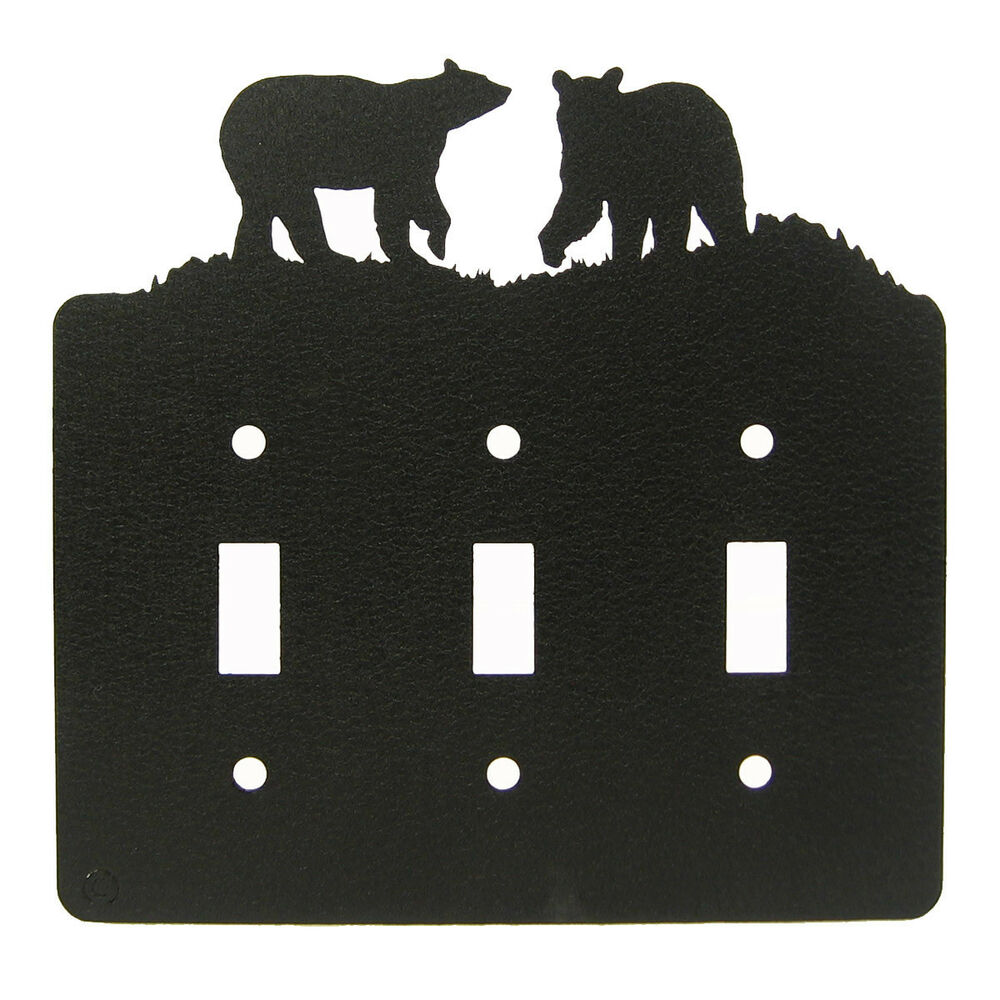 Bear Black Metal Triple Light Switch Plate Cover Ebay