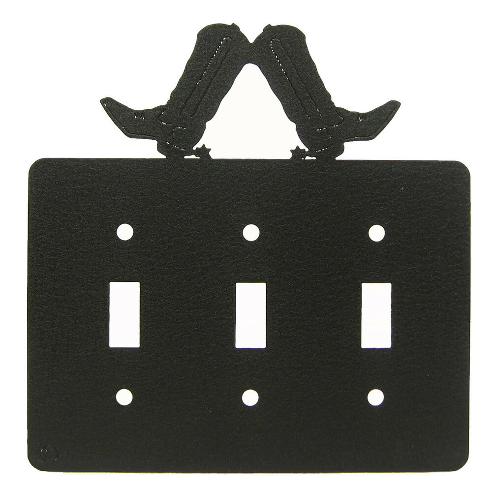 Cowboy Boot Black Metal Triple Light Switch Plate Cover