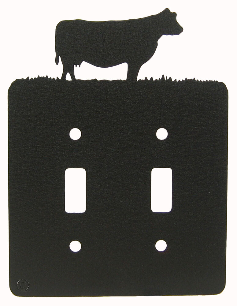 Cow Black Metal Double Light Switch Plate Cover Ebay