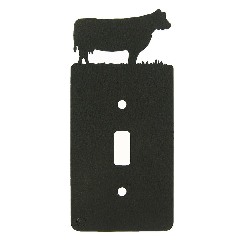 Light Switch Plate Cover: Cow Black Metal Single Light Switch Plate Cover