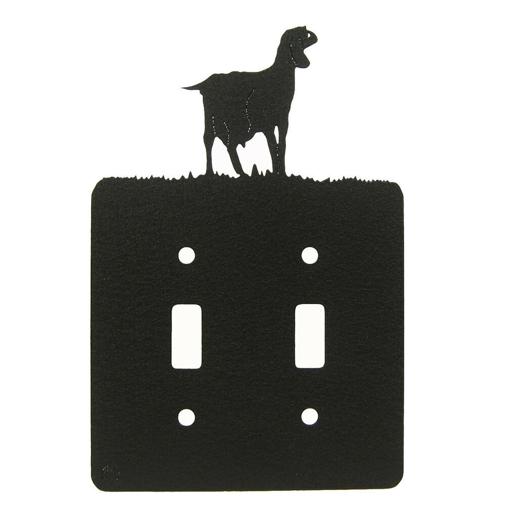 Light Switch Plate Cover: Nubian Goat Black Metal Double Light Switch Plate Cover
