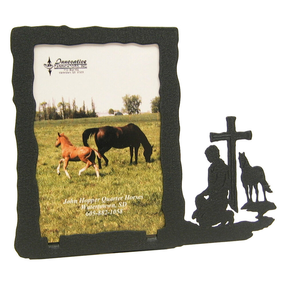 Praying Cowboy Black Metal 3x5 Vertical Picture Frame Ebay