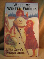 Christmas Welcome Winter Friends Cocoa Tin Metal Sign Snowman Holiday