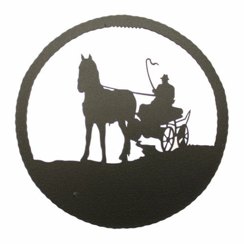 Round Black Wall Decor : Driving horse black metal round wall decor