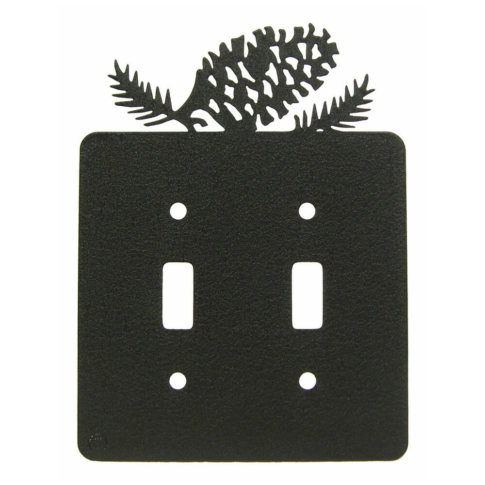 Light Switch Plate Cover: Pinecone Black Metal Double Light Switch Plate Cover