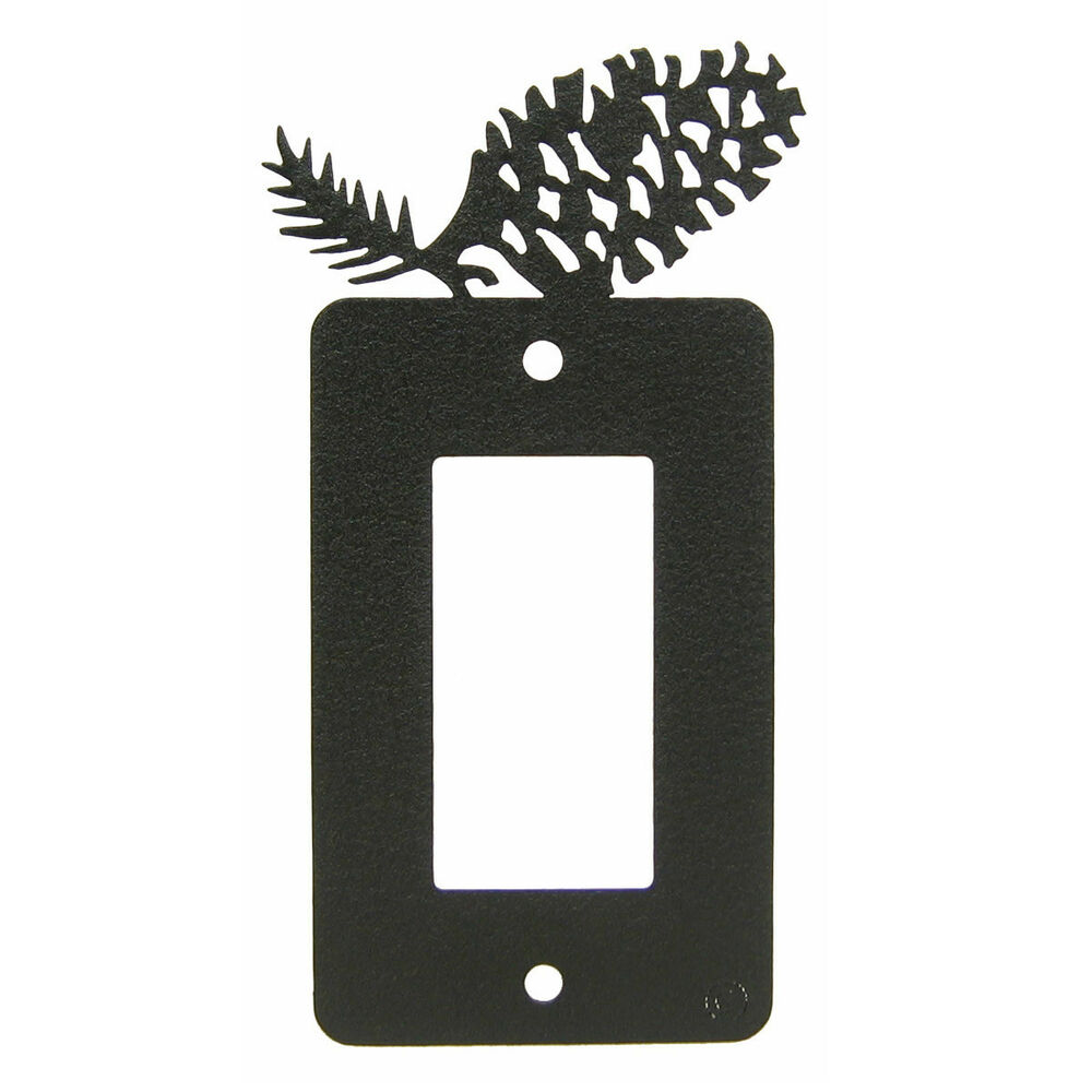 Light Switch Plate Cover: Pinecone Black Metal Rocker Light Switch Plate Cover