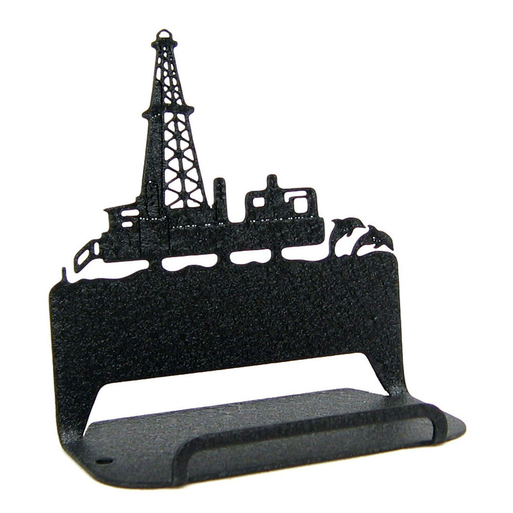Offshore oil rig black metal business card holder ebay for Black business card holder