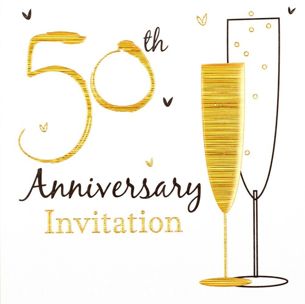Pack of 6 golden 50th wedding anniversary party card for What is 50th wedding anniversary