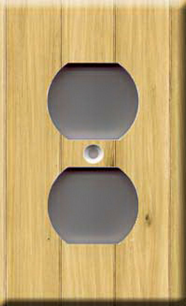 Single outlet plate cover wood panel ebay