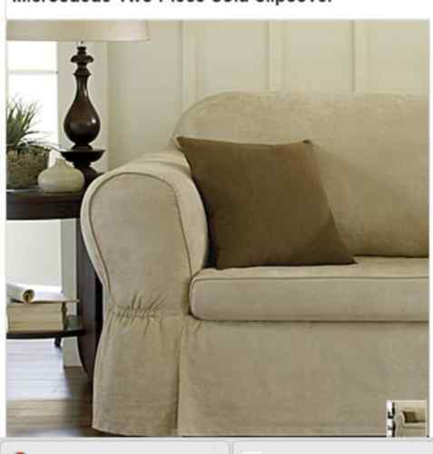 Suede Two Piece Sofa Slipcover Color Chestnut New Ebay