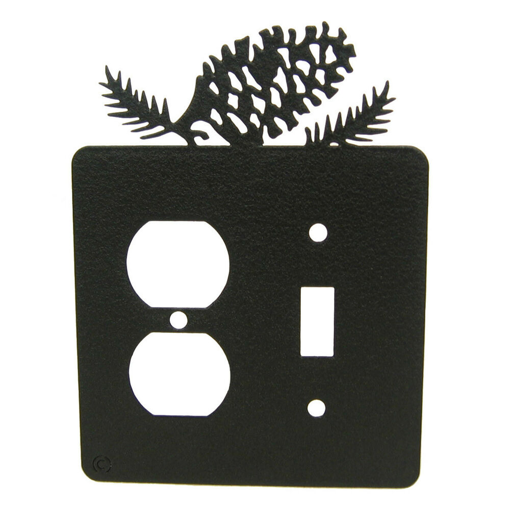 Metal Electrical Outlet Covers Oversized Outlet Covers: Pine Cone Black Metal Single Switch-Outlet Plate Cover