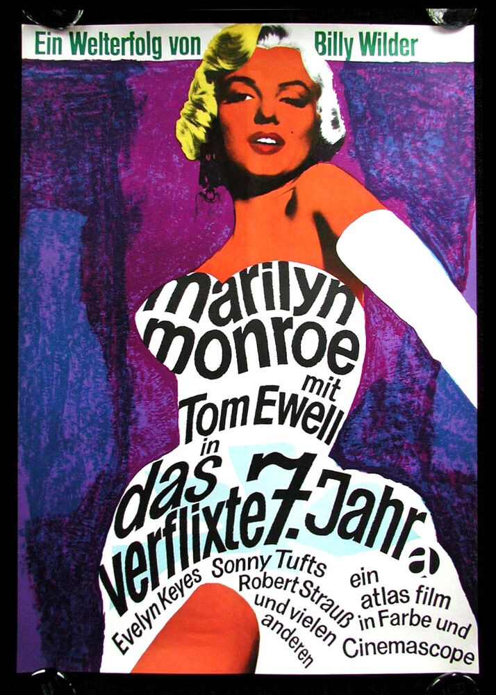 7 seven year itch cinemasterpieces german original movie poster marilyn monroe ebay. Black Bedroom Furniture Sets. Home Design Ideas