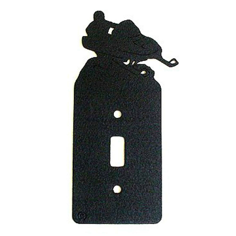 Light Switch Plate Cover: Snowmobile Black Metal Single Light Switch Plate Cover
