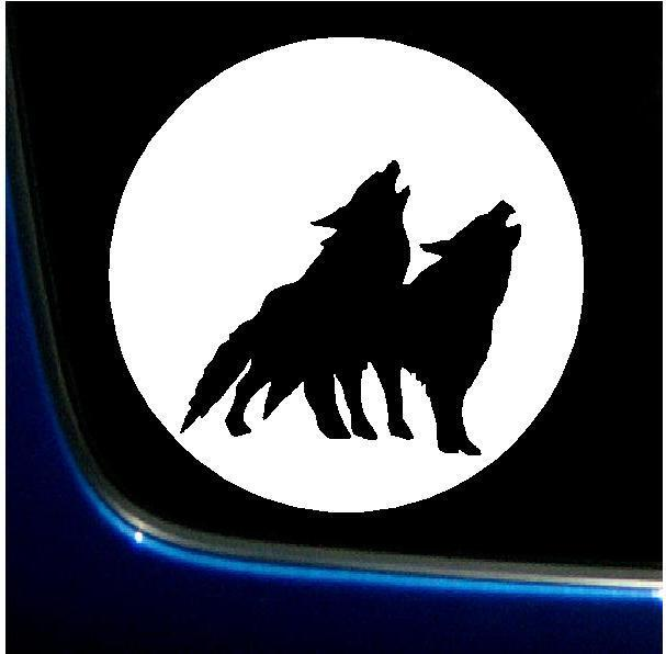 Wolf Pack Full Moon Silhouette Vinyl Decal Sticker 6x6 Ebay