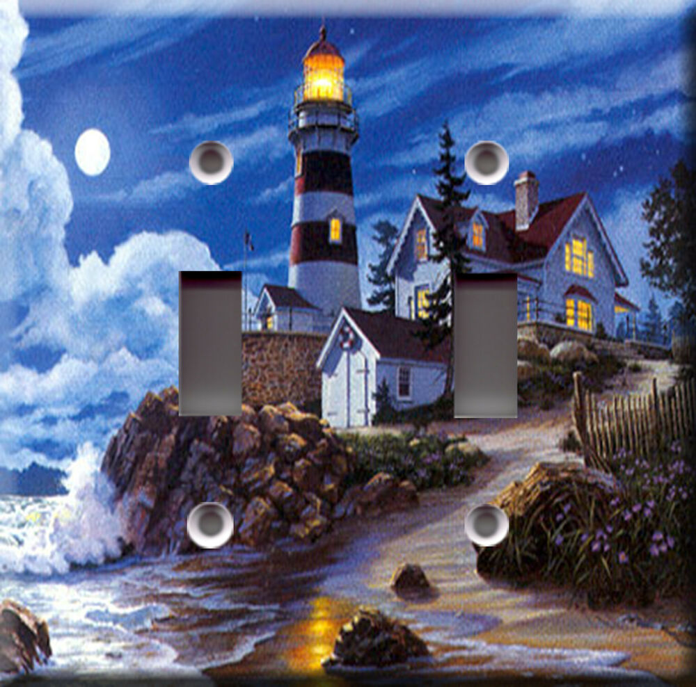Double light switch plate cover moonlight lighthouse ebay for Lighthouse switch plates